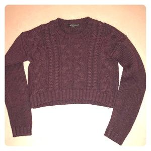 Lucca Couture Women's Brown Knit Cropped Sweater